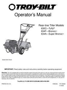 Troy-bilt manual 630c tuffy 634f bronco 634a super bronco rototiller operators