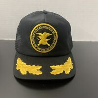 Vintage National Rifle Association NRA Trucker Cap Hat Snap Mesh Back Gold Leaf