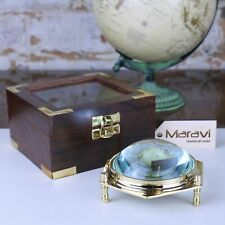 More details for goli domed magnifying glass paperweight in wooden box desk gift office