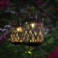 2x Retro Solar HängeLaterne Set Flackerlicht Kerze Solarleuchte Windlicht Garten
