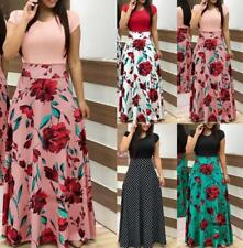 UK Women Long Sleeve Floral Boho Long Maxi Dress Ladies Casual Dress Size 8-22