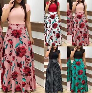 Womens Floral Maxi Dress Short / Long Sleeve Evening Party Beach Long Sundress