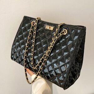 Women's Chain Totes Bags Large Quilted Patent Diamond Leather Shoulder Bags