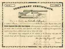 1898 Brown Segmental Tube Wire Gun Temporary Stock Certificate