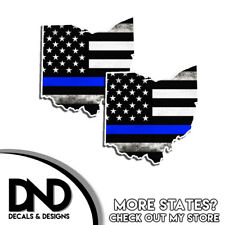 Ohio HELMET Decal Police Blue Line Tattered American Flag Sticker 4 Pack