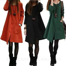 Spring Loose Top Long Sleeve One piece Womens Tunic Ladies Vintage Dress Size