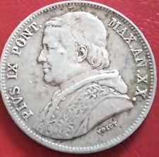 Monnaie VATICAN. 20 BAIOCCHI 1865 R ARGENT TB. refA01