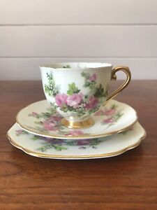 Vintage Stanley Porcelain Tea Trio Cup Plate Saucer Pink Roses Made In England