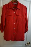 Chicos Womens Silk Blouse Shirt Long Roll Tab Sleeve Button Size 1 Red