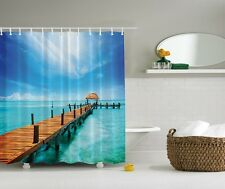 Tropical Lake Scene Shower Curtain Paradise Wooden Deck Aqua Water Bath Decor