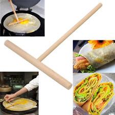 2x Wooden Rake Round Batter Pancake Crepe Spreader Kitchen Tools DIY 15cm