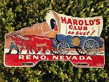 Harold's Club Or Bust Nevada Vintage Metal License Topper Plate Reno Nevada