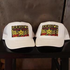 Rockstar Energy Drink Mesh Trucker Hat Baseball Cap Lid Snapback White Motocross