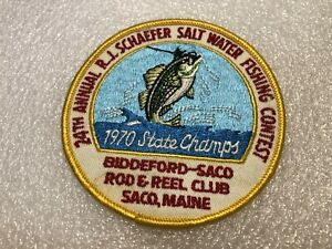 Vintage 1970 RJ Schaefer 24th Saltwater Fishing Contest Patch SACO MAINE