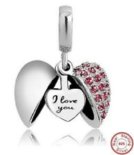 'I Love You' Heart Charm Bracelet Bead S925 Sterling Silver Ruby Stone