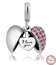 Pandora 'I Love You' Heart Charm Bracelet Bead S925 Sterling Silver Ruby Stone