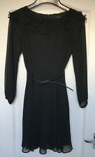 """""""Coast"""" Black Floaty Dress, Size 6, Lined/Belted, Beaded, Transparent sleeves"""