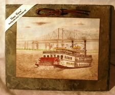 Archie Boyd, Creole King paddlewheel boat art on old roof slate