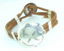 LEATHER AND CONCHO BRACELET STERLING SILVER 925 CONCHOS & ACCENTS by SmithSilver
