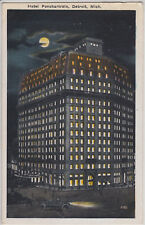 DETROIT, MI. HOTEL POCHARTRAIN. VINTAGE WHITE BORDER POSTCARD PM 1919