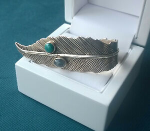 Sale Turquoise Feather Gemstone and Sterling Silver