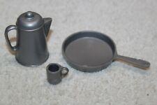 Vintage Marx Johnny West - Silver - Coffee Pot/Pan/Cup - Cowboy
