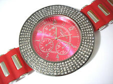 Bling Bling Hip Hop Very Big Case Rubber Band Techno King Men's Watch Red # 2999