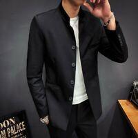 Herrenmode Formell Einreiher Stehkragen Blazer Jacke Langarm Chinesischen-Stil