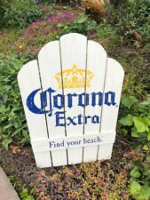 Corona Extra Find Your Beach Chair Beer Bar Pub Wood Sign Mirror
