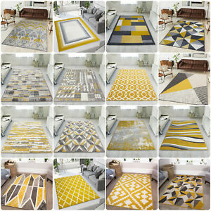 Modern Yellow Living Room Rugs Small Large Geometric Rug Cheap Ochre Hall Runner