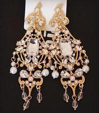 Vintage Gold Bridal Earrings Retro Crystal Chandelier Earrings Wedding Jewelry
