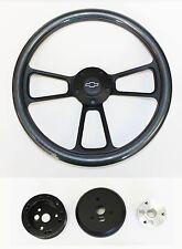 """Blazer C/K Series S10 Chevy Truck Steering Wheel Carbon Fiber & Black 14"""" Bowtie"""