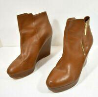 Women's Michael Kors Clara Ankle Booties Brown Leather Wedge Heel Zip 10 M