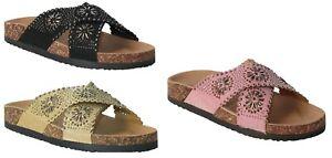Womens Ladies criss cross summer Beach Open Toe Diamante Flat Fashion sandals UK