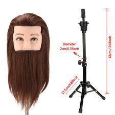 "Salon 14"" Hairdressing Training Head 100% Real Hair Man Mannequin Doll + Holder"