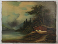 "Old Oil Painting on Canvas Landscape with Lake Unframed Art HomeDeco (14"" x 18"")"