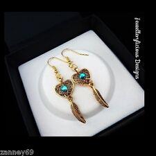 Beautiful Gold Filigree Love Heart Feather Aqua Crystal Dream Catcher Earrings