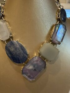 """""""CHICO'S"""" SILVER TONE CHAIN LARGE BLUE TONE FACETED BEADED STATEMENT NECKLACE"""
