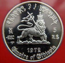 1 Oz PROOF SILVER ETHIOPIA HAILE SELASSIE BEAUTY 1972 5 DOLLARS EE1964