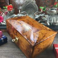 Red velvet Lined box, memory burl wood box, Thuya wooden jewelry Gift box