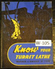 Warner Amp Swasey Turret Lathe Type A Service Manual