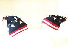 Winter Knit Ski Hat American Flag USA Patriotic Oversized Beanie Fleece Lined