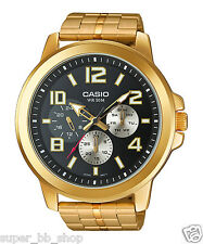 MTP-X300G-1A Gold Black Casio Stainless Steel Men's Watches 50M Date Display New