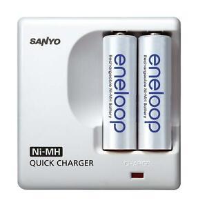 Sanyo eneloop Schnellladegerät MDR-02 mit 2  eneloop Batterien AAA Micro NEU