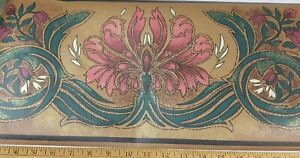 """10.5"""" WIDE Pink Plum Green Tan Black Metallic Gold Wall Border-SOLD BY THE ROLL"""