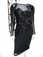 NIGHT LINE VINTAGE SILK LONG SLEEVE DRESS SIZE 6 BEADED BLACK LACE 90's 80's