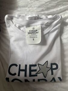 Cheap Monday Spellout White Fitted Top Brace Tee SPELL OUT Star Logo