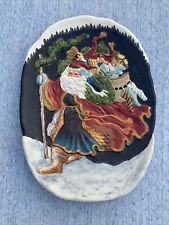 Vintage CERTIFIED INTERNATIONAL Santa Claus & toy Sack Platter Plate  ❤️sj8j5