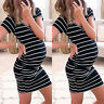 Pregnant Womens Striped Summer Short Sleeve Maternity Nursing Casual Mini Dress