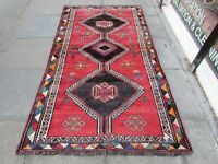Vintage Old Traditional Hand Made Rug Oriental Wool Red Large Rug 240x128cm